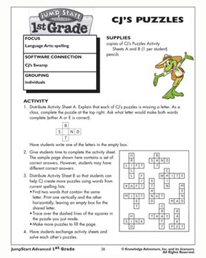 CJ's Puzzles - Free English Worksheet for Kids