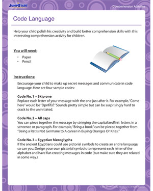 Code Language - Learn Comprehension with this cool Activity for Kids