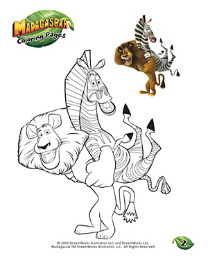 Color Alex and Marty - Free Coloring Worksheet for Kindergarten