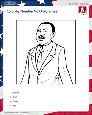 Color-by-Number MLKJ Worksheet - Know more about Martin Luther King Jr ...