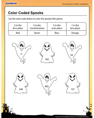 color coded spooks free place value recognition worksheet for kids jumpstart. Black Bedroom Furniture Sets. Home Design Ideas