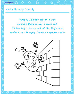 Color Humpty Dumpty Free Nursery Rhyme Worksheets For Kids JumpStart
