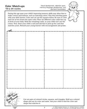 color match ups free coloring worksheet for kids - Free Printable Toddler Activities Worksheets
