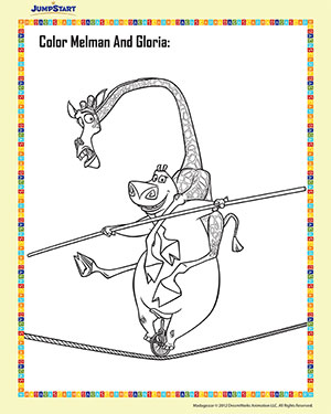 Color Gloria and Melman – 3 – Madagascar Coloring Worksheet