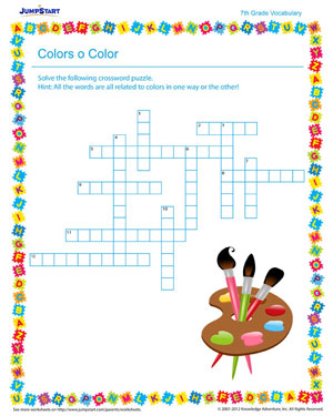 Color o Color – free worksheet on vocabulary