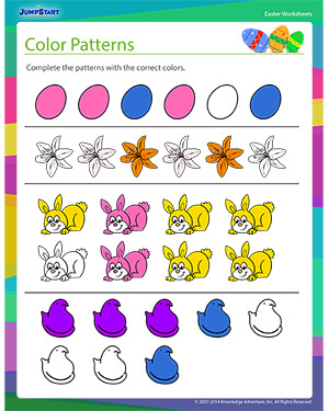 Did you see 'Color Patterns?'- Free Easter Worksheet for Kids