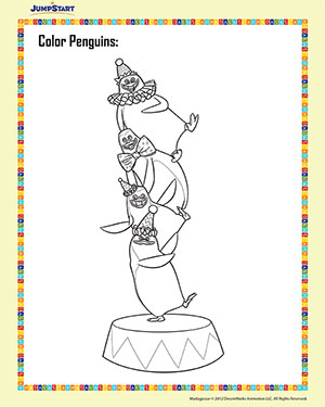 Color Penguins – 2 – Madagascar Printable Coloring Worksheet