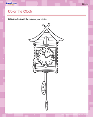 math worksheet : color the clock  printable kindergarten coloring worksheet  : Clock Worksheets For Kindergarten
