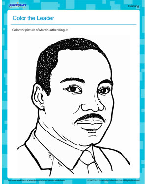 Color the Leader - Free Printable MLKJ Worksheet for Kids