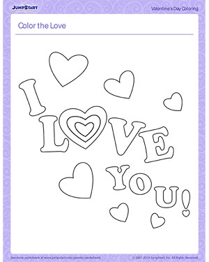 Color the Love - Printable Children's Coloring Page for Valentine's Day