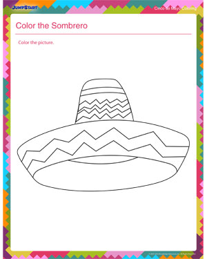 color the sombrero coloring worksheet for preschool jumpstart