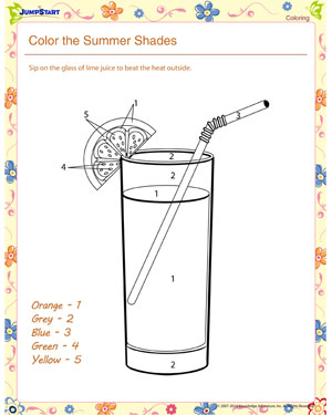 Color the Summer Shades - Summer Worksheet