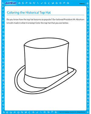 top hat template for kids - coloring the historical top hat free history worksheet