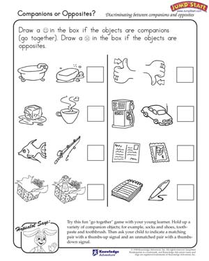 math worksheet : companions or opposites  logical reasoning worksheets for  : Opposites Worksheet Kindergarten
