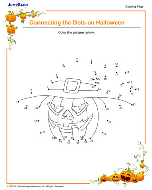 Connecting the Dots on Halloween - Halloween coloring pages for kids