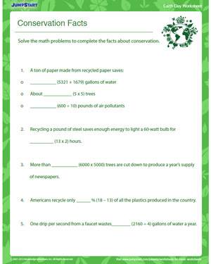 Conservation Facts  Earth Day Worksheet for Grade 4  JumpStart