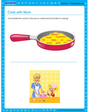Cook with Mum - Grammar worksheet for kids