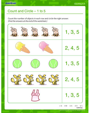 Count and Circle 1 to 5 - Free Counting & Numbers Worksheet for Kids