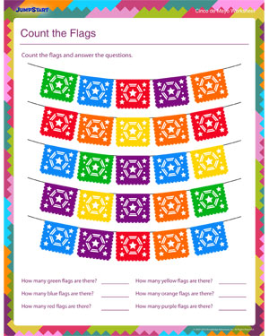 Count the Flags - Free Counting Worksheet for Kids