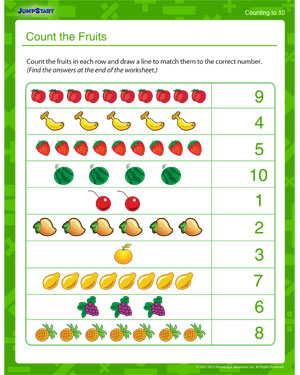 Count the Fruits – Printable Counting Worksheet Online – JumpStart