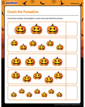 math worksheet : count the pumpkins  free halloween math printable for kids  : Kindergarten Pumpkin Worksheets