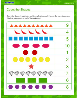 Count the Shapes - Free Math Worksheet for Kids