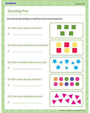 Counting Fun – Free Counting Worksheet for Preschool – JumpStart