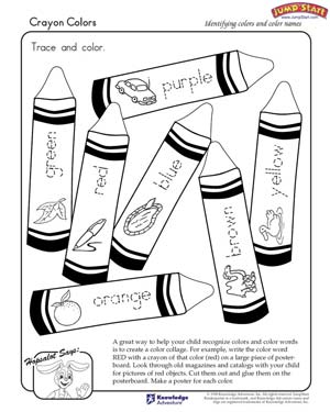 crayon colors free coloring worksheet for kids - Preschool Color Worksheets Free