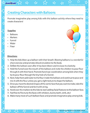 Creating Characters with Balloons - Activity for 3-year olds