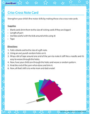 Criss-Cross Note Card - Activity for 3-year olds