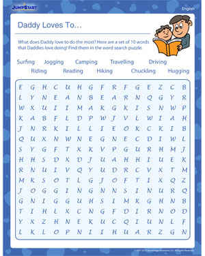 Daddy Loves to – Worksheet for kids