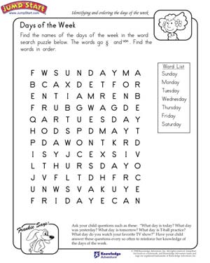 Days of the Week – Kindergarten English Worksheets – JumpStart