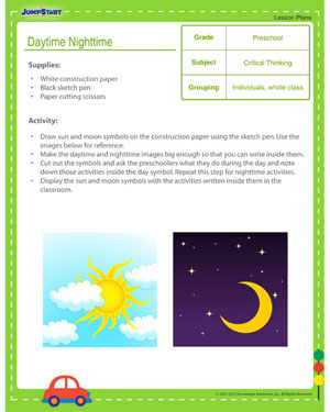 daytime nighttime day and night lesson plan for preschool jumpstart. Black Bedroom Furniture Sets. Home Design Ideas