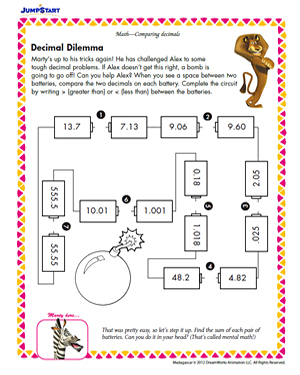 math worksheet : decimal dilemma  5th grade math worksheets  jumpstart : Compare Decimals Worksheet