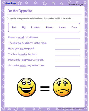 math worksheet : do the opposite  free english printable for 3rd grade  jumpstart : Opposite Worksheet For Kindergarten