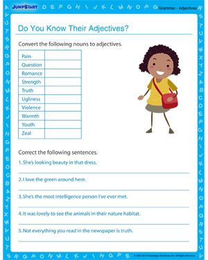 Do You Know Their Adjectives - Grammar worksheet for kids