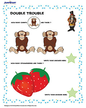 Double Trouble - Free Counting Worksheet for Preschool