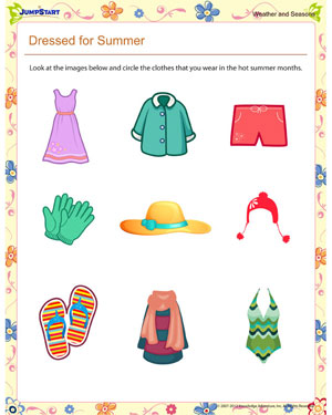 math worksheet : dressed for summer  printable first grade seasons worksheet  : Four Seasons Worksheets For Kindergarten