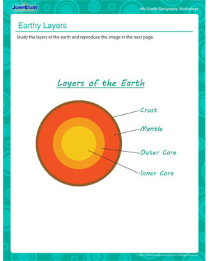 photo about Earth Layers Worksheet Printable titled Entire world Levels Geography Little ones Printable Worksheet JumpStart
