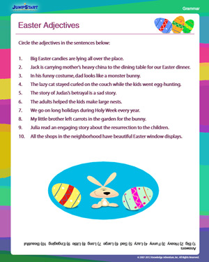 Easter Adjectives - Free Grammar Worksheet for 2nd Grade