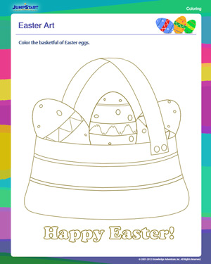 Easter Art - Free Coloring Worksheet for Kindergarten