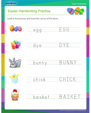 easter handwriting practice kids easter worksheet free jumpstart. Black Bedroom Furniture Sets. Home Design Ideas