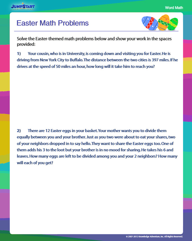 Easter Math Problems Free 4th Grade Math Problems JumpStart – Math Problem Worksheets