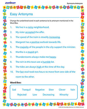 Easy Antonyms - Free English Worksheet for 3rd Grade