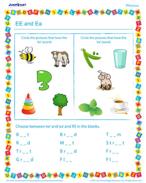 Ee and Ea - Phonics PDF worksheet