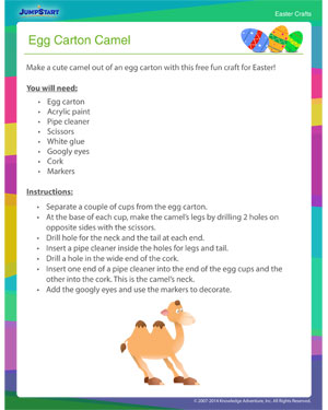 Browse 'Egg Carton Camel' - Easter Craft Online for Kids