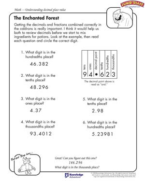 math worksheet : the enchanted forest  4th grade math worksheets  jumpstart : Decimal Place Value Worksheets