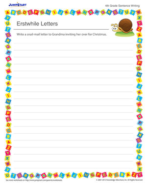 Erstwhile Letters - Sentence writing worksheet for kids