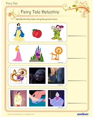 fairy tale detective free fantasy worksheet for kindergarten jumpstart. Black Bedroom Furniture Sets. Home Design Ideas