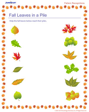 Fall Leaves in a Pile – Free Pattern Recognition Worksheet – JumpStart
